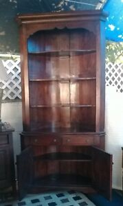 Beautiful China Display Mahogany Corner Round Back Buffet Cabinet