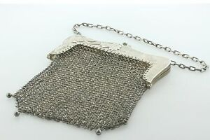 Antique Victorian Sterling Silver G B Sun 925 K Mesh Chatelaine Purse Handbag