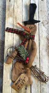 Grungy Let It Snow Snowman Hanging Christmas Ornament Primitive Bell Country