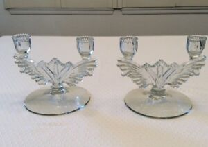 Vintage Pressed Glass Candlesticks Beau Condition 1940 S