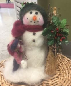 Primitive Handmade Wool Girl Making A Snowman Figure With Decorated Broom