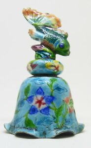 Antique Enameled Chinese Tropical Fish Dinner Bell Free Shipping
