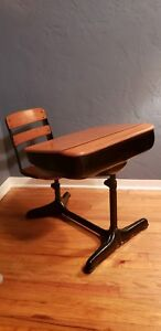 Antique Wood And Metal Childrens School Desk And Chair Adjustable
