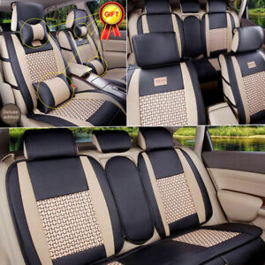 Pu Leather cooling Heating Mesh 5seats Car Comfort Seat Covers Front rear Mat Us
