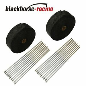 Black 2x 2 50ft Roll Fiberglass Exhaust Header Pipe Heat Wrap Tape 20 Ties Kit
