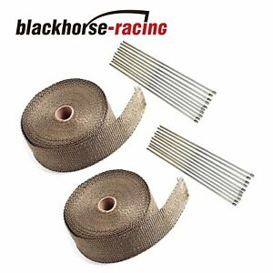 2 x 50ft Titanium Manifold Header Exhaust Turbo Intake Mesh Heat Wrap 2 Rolls