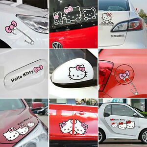 Cartoon Hello Kitty Car Stickers Decals For Door Mirror Window Body Interior Dec