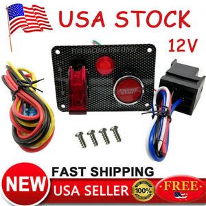 12v Racing Car Ignition Switch Panel Engine Start Aircraft Kit Push Button Us