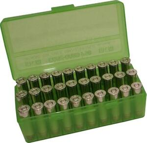 MTM PLASTIC AMMO BOX CLEAR GREEN 50 Round 38  357 - BUY 5 GET 1 FREE