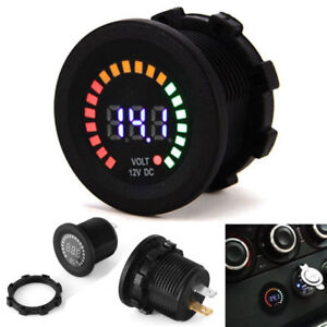 12v Waterproof Screw On Volt Meter Digital Car Boat Colorful Led Voltage Gauge