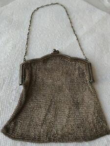 Antique Vtg Sterling Silver Old Mesh Purse Victorian Style 72 Grams