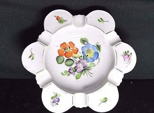 Antique Porcelain Ashtray Flower Hand Painted Fer A Glengary Signed Numbered