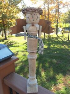 Primitive Angel Wood Spindle Farmhouse Rustic Decor Christmas Shabby Rusty Wings