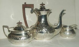 Barker Ellis Antique Silver Plate Coffee Set Floral Repousse Gate Mark England