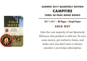 Field Notes Campfire Edition Summer 2017 Fnc 35 Sealed 3 Pack Of Memo Notebooks