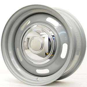 Hot Rod Hanks 55 Rally Rim 15x8 5x5 5x5 5 Offset 6 Silver With Cap Qty Of 4