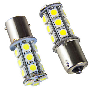 2 X Xenon White Rv Camper 1156 1141 1003 Ba15s 18 Led Light Bulbs Backup Reverse