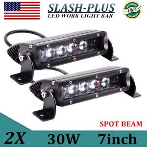 2x 7inch 30w Single Row Cree Led Light Bar Spot Driving Lamp Truck 4d Super Slim
