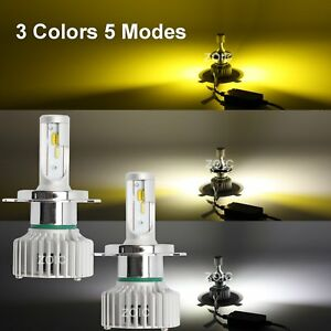 H4 Hb2 9003 16000lm 3 Colors White Yellow Led Car Front Headlights High Low Beam