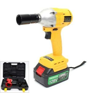 128v Cordless 1 2 Impact Wrench Gun Brushless Li Ion Battery Charger 320 Nm