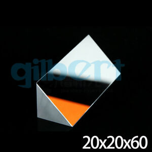 20x20x60mm Optical Glass Triangular Lsosceles K9 Prism With Reflecting Film