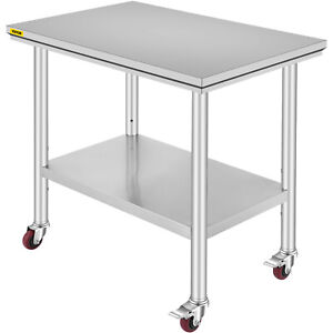 36 x24 Work Table Stainless Steel For Kitchen Restaurant With 4 Wheels