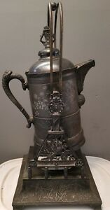Antique Pairpoint Manufacturing Co Quadruple Silver Plated Tilting Urn Samovar