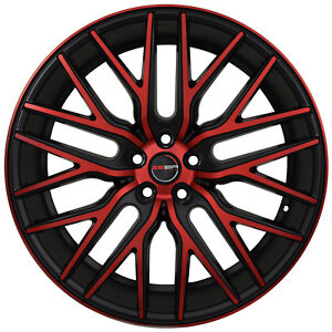 4 Gwg Wheels 22 Inch Black Red Face Flare Rims Fits Chevy Impala Old Body Style