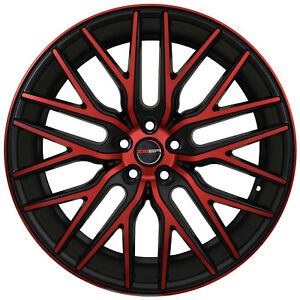 4 Gwg Wheels 22 Inch Black Red Face Flare Rims Fits Ford Shelby Gt 500 2007 2018