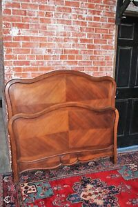 Antique French Solid Walnut Wood Louis Xv Full Size Double Panel Bed With Rails