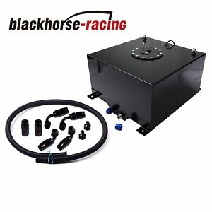 Black 10 Gallon 40l Polished Aluminum Fuel Cell Tank black Steel Oil Feed Kit