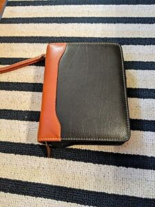 Vtg Franklin Quest Covey Black brown Leather Zipper Compact Planner Organizer