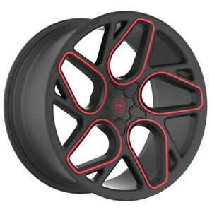 4 Gwg Bremen 20 Inch Satin Black Red Mill Rims Fits Dodge Charger 2005 2018