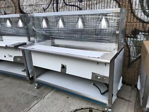 All Stainless Steel Steam Table 60 Electric W lighted Sneeze Guard 208v 1ph Nsf