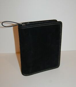 Compact Franklin Covey Planner Black Suede Leather Contrast Stitch 1 25 Rings