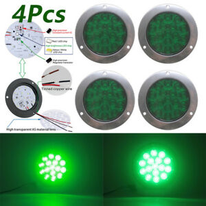 4pc Round Green Led Turn Stop Brake Trailer Tail Waterproof Lights For Rv Truck