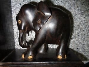 Antique Hand Carved Ebony Elephant Bookends
