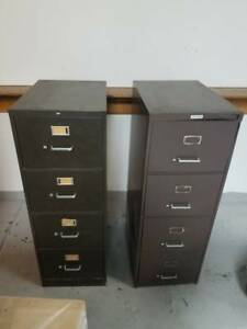 2 Commercial Grade Steel Filing Cabinet 4 Drawer Push Button To Open No Keylock
