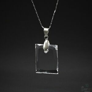 2d Personalized Crystal Laser Engraved Picture Rectangular Necklace