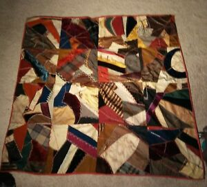 Antique Crazy Quilt Cotton Wool Velvet Silk For Repair