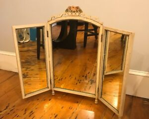 Vtg Antique Tri Fold Vanity Desser Mirror Heavy Duty Good Condition