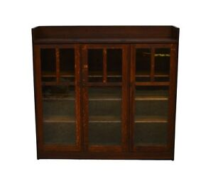 Limbert Antique Quartersawn Oak Mission Style Three Door Bookcase