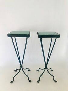Antique Large Cast Iron Plant Stand Table With Ceramic Insert Top