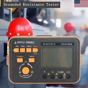 Digital Lcd Display Earth Ground Resistance Meter Tester Voltage Measurement