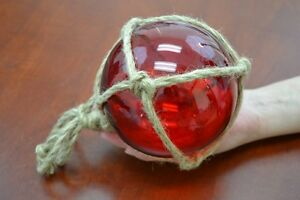 Reproduction Red Glass Float Ball With Fishing Net 5 F 947