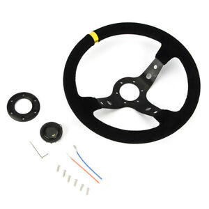 350mm Universal Black Deep Dish Racing Sport Steering Wheel Horn Any Car Us