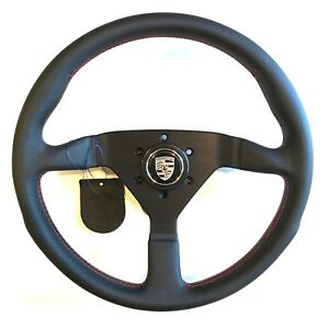 Momo Monte Carlo Steering Wheel Black Leather Red Stitch Porsche Horn Button Sil