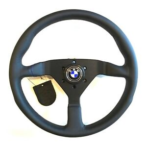 Momo Steering Wheel Monte Carlo Black Leather Black Stitch With Bmw Horn Button