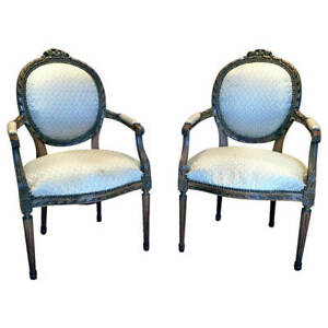 Pair Of French Carved Fauteuil Chairs Louis Xvi Style