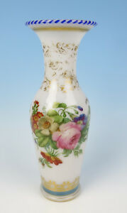 Rare Baccarat Or St Louis Torsade Rim Opaline Glass Vase Antique French Roses